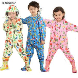 3-8 Years Old Kids Cartoon Waterproof Jumpsuit Raincoat Boys Girls Rainwear Children Poncho Animal Deer Hooded Raincoat Suit