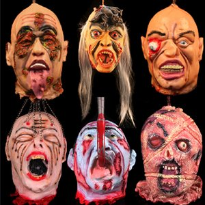 Halloween Horror Props Bloody Head Haunted House Party DIY Decoration Halloween Scary Ghost Zombie Head Hanging Decoration