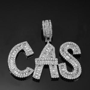 Bijoux Hip Hop Pain Collier Diamant Nom Personnalisé Glacé À Chaînes Chaînes Cubic Zircon Cuivre Serti De Diamants Plaqué Or 18k Lettre Necklac