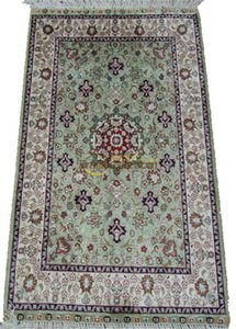 Hand Knotted Persian Medallion Wool And Silk Rugs Handmade Fine carpet
