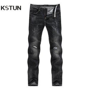 KSTUN Winter-Jeans Männer Schwarze Jeans Stretch dünne gerade Ripped Hip Hop Distressed Männer High Street ausgefranste Cowboys