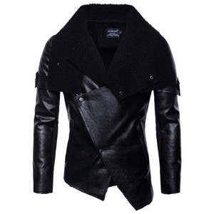 Ou code 2018 autumn new men's motorcycle leather European and American men's personality irregular punk leather jacket