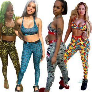 Женщины Swimsuit 2 Piece Set Design Спортивный бюстгальтер жилет + брюки Леггинсы Купальники Камуфляж Leopard акулы Tracksuit Пот костюм D401