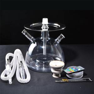 set narghilè acrilico shisha LED con tubi pinze tubo di plastica narghilè ciotola di ceramica in metallo carbone acqua narguile accessori