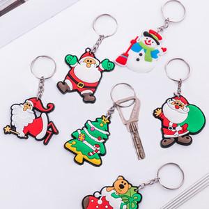 Keychain Lot venda dos desenhos animados bonito engraçado do Natal Chaveiro Papai Noel sacos de PVC Anéis chaves Key envio presente Gota