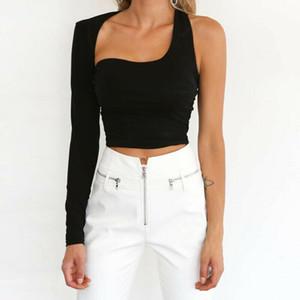 Una spalla Crop di modo delle donne Top manica lunga maglia sottile canotte Clubwear Cami Bralet Bra Tee
