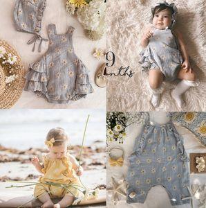 Wawa Baby cotton romper toddler kids daisy printed suspender jumpsuits girls falbala romper newborn kids cotton soft clothes A2978