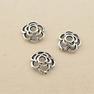 6mm Hollow Camellia Flower Metals Loose Beads S925 Sterling Silver Plated DIY Flower Pendant Bracelet Necklace Jewelry Fashion Accessories