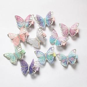 2019 New Baby Butterfly Design clip di capelli 20pcs / lot bambini carini novità accessori per capelli all'ingrosso garza glitter farfalla principessa forcelle