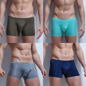 Nueva fresca de seda del hielo atractivo del boxeador de los hombres la ropa interior de cintura baja cuecas boxeadores para hombre Calzoncillos Boxers Pantalones cortos masculino bragas