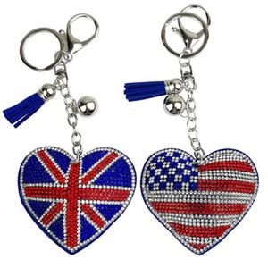 Bandeira americana New criativa britânica e padrão chaveiro com strass Moda Bag Pingente Chave Anéis Coração Titular da chave Forma