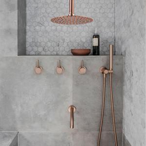 """Badezimmer Dusche Set Brushed Rose Gold Einfachheit aus massivem Messing 8"""" Duschkopf Wasserhahn Mischbatterie Dusche Badewanne Black Chrome"""