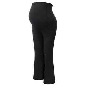 Pantaloni delle signore donne maternità Capri pantaloni corti allenamento Activewear gambe dritte Flare Pantaloni a vita alta Solid Stretch Slim