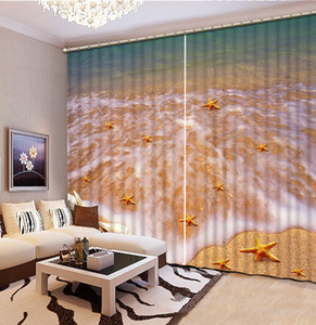 Nature scenery Clear beach Window Blackout Luxury 3D Curtain set For Bedroom Living room Office Hotel