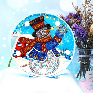 Diamond Painting LED Light Snowman 5D Full Drill By Number Kits Christmas Gifts or Embroidery Craft for Home Decoration-6.0In X