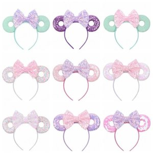 Baby-Haar-Sticks Mouse Ears-Haar-Band Glitter Pailletten Bögen Donut Stirnband Kinder Cosplay Kopfschmuck Hoop Kinder Haarschmuck 15Color