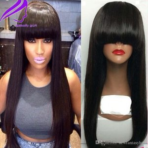 L Long Straight Synthetic Wig Brazilian Glueless Lace Front Simulation Human Hair Wigs With Bangs Pre Plucked Bleached Knots For Black