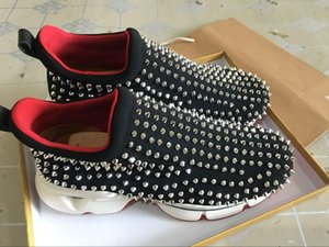 BLack Krystal Spike Sock Donna Flat Men Casual Sneakers Designer Mens Red Bottoms Shoes Womens Rivet Spiky Sock Junior Spikes Flat Shoes
