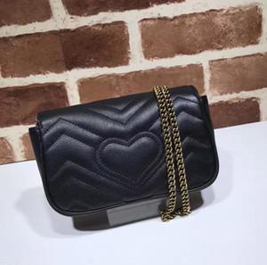 2019 diseño de celebridades de calidad superior Mini corazón Cluth Marmont bolsa de hombro de cuero genuino Crossbody Messenger Bag cadena 476433