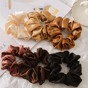 Scrunchies Haarbänder Solide Satin Hair Bands Dickdarm Haar-Riegel Seile Mädchen Pferdeschwanz-Halter-Haar-Zusätze 6 Entwürfe 120pcs DW4259
