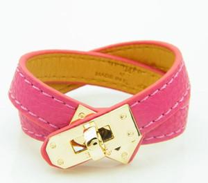 Vintage Multilayer PU Leather H pulseras para mujeres Brazaletes de brazaletes Hombres Gold Rotating Hebilla Anillo Pulseras Pulseras Masculinas Accesorios Joyería