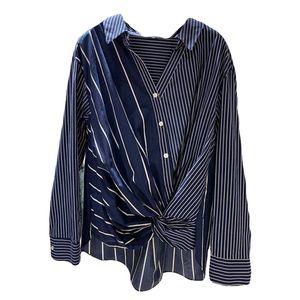 [EWQ] 2020 Moda manga comprida Streetwear Mulheres Botão Camisas Blusas Mujer coreano Vintage Striped Patchwork blusas para mulheres