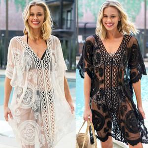 Mode casual de maillot de bain l'été des femmes Mesh transparent Maillots de bain Bikini dentelle Crochet Cover Up Robe de plage Cover-ups