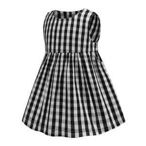 NEW Arrival Summer Baby Girls Dress Fashion Black Plaid Sleeveless Puckered Skirt High Quality Cotton Kids Dress