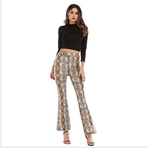 2020 New Designer Womens Pants Spring Slim Leopard Flared Pants Women High Waist Wide Leg Trousers 4 Colors Asian Size S-2XL PH-YF202261 1