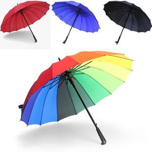 Nuevo Rainbow Umbrella Mango largo 16K Recto a prueba de viento Colorido Pongee Umbrella Mujeres Hombres Sunny Rainy Umbrella Parasol WX9-1348