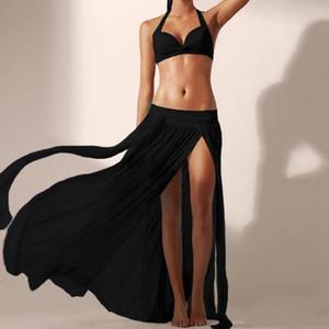 Kadınlar Etekler Şeffaf Giyim Kadın Yan Bölünmüş Mesh Etek Plaj Partisi Mesh Hollow Uzun Maxi Etekler Mujer #YJ See-through