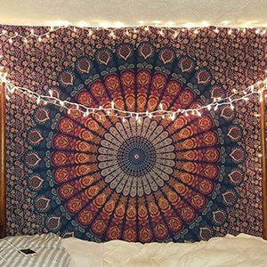 DHL Shipping Hippie Mandala Tapestry Bohemian Flower Psychedelic Tapestry Towel Living Room Wall Art Bedding Hanging 150*130 cm B134F