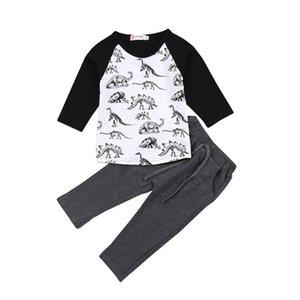 Nouveau style Nouveau-né bébé enfants garçons vêtements à manches longues Hauts Dinosaur T-shirt + Outfit Baby Legging Pant Vêtements Set