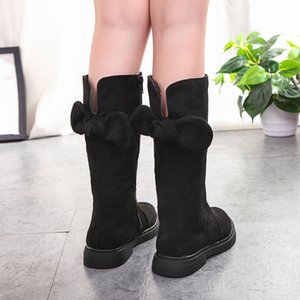 Hot girls boots bow high boots girl Fashion snow girl Winter Girls Princess Mid-Calf Boot Winter shoes for children