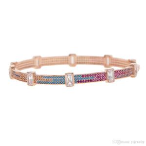 2018 Diamater interno 58-60mm baguete colorida zircônia cúbica cz manguito pulseira pulseira Bohemia Boho declaração de jóias para mulheres