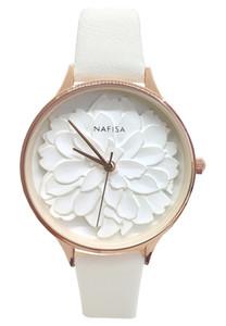 2019 Hot Fashion Frost White Relief 3D pivoine fleur cadran Japon Nafisa femmes bracelet en cuir noir Montre-bracelet NA-0129