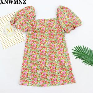 XNWMNZ 2020 women vintage floral vestidos print puff sleeve mini dress female retro square collar casual slim streetwear dresses