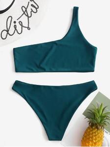 Womens Hot Sale European and American Fashion Sexy Bikini Swimsuits Solid Color Strap Bikini Beach Swimwear