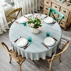 RZCortinas Masa Örtüsü Yuvarlak Düğün Otel Masa Örtüsü Pamuk Keten İskandinav Katı örtüler Ev Dekorasyonu Gri Kahve Mavi Y200421