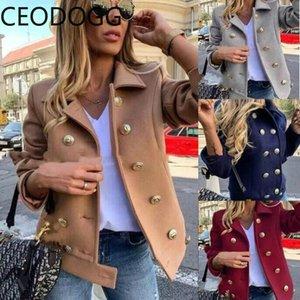 Estilo de trabajo Ceodogg Slim Fit temperamento Casaco Femenino gira el collar abajo chaqueta de manga larga individual de mama Las mujeres salvajes de la primavera