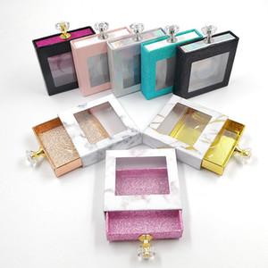 Wholesale Handle de cristal cuadrado Caja de pestañas Caja de envasado de pestañas Falso 3D Mink Palestes Cajas Faux Cils Strip Diamond Magnetic Case Vacío