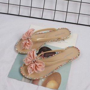 2020 летняя обувь Женская мода красочные алмазные бабочки снаружи носить Приморские дамы шлепанцы пляж прохладный женщины тапочки