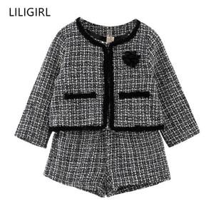 Liligirl Kids Girls Temperamento Ropa Set 2019 Nueva chaqueta a cuadros + shorts 2 unids traje para niña buena calidad chándal traje Y190518