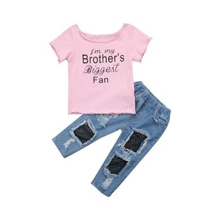 Brand New 2PCS Set Kids Baby Girl Brother печать майка Tops + Mesh выдалбливают Jeans 2pcs наряды Set Одежды