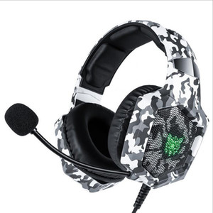 ONIKUMA K8 PS4 Headset Camouflage casque Wired PC Gamer Stereo Gaming auscultadores com microfone luzes LED para XBox One / Laptop