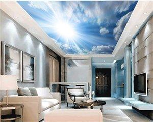 Wall Papers Home Decor Белые облака Цветущая Солнечный Красивая небо пейзаж Крытый Zenith украшения Mural обои