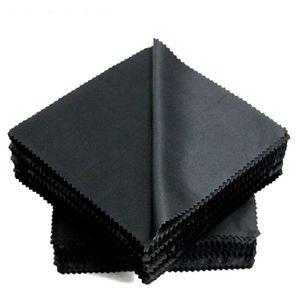 Microfibra Gafas Lentes Gafas de sol Gafas Especificaciones Lienzo de limpieza Negro Limpie el paño de la lente 150mm * 150mm