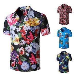 Artı boyutu Plaj Erkek Gömlek Moda Tasarımcısı Çiçek Kısa Kollu Yaz Gömlek Hawaii Stil Erkek Gömlek