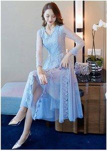 2020 Les femmes Robes de soirée Retro Party gothique bleu évider floral Robe en dentelle ruban arc printemps été de travail maxi robe vintage Robes