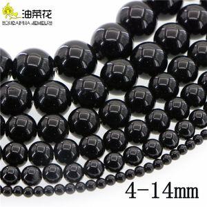 الحجرالطبيعية4-14mm Black Agate Round Loose Beads DIY Insuments Making Woman Girl Gift Christmas Selaper Wedding